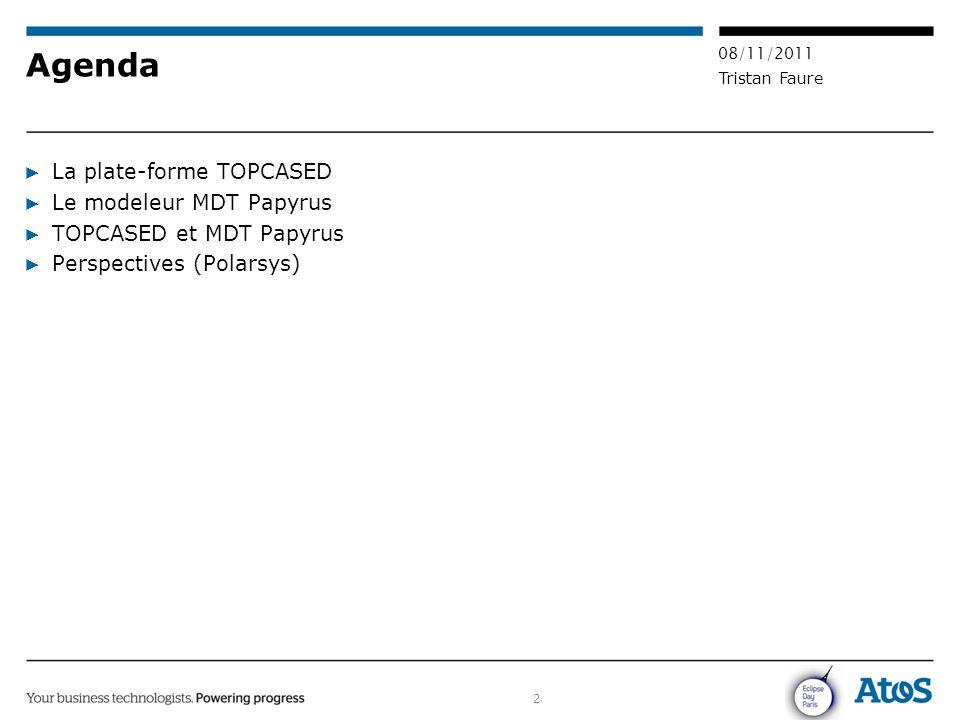 Agenda La plate-forme TOPCASED Le modeleur MDT Papyrus