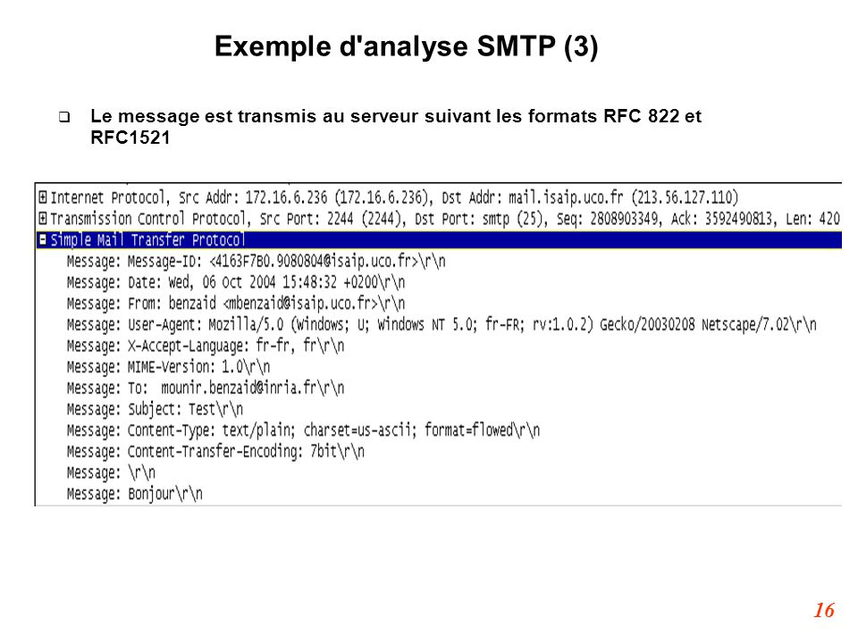 Exemple d analyse SMTP (3)‏