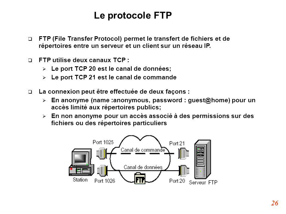 Le protocole FTP FTP (File Transfer Protocol) permet le transfert de fichiers et de répertoires entre un serveur et un client sur un réseau IP.