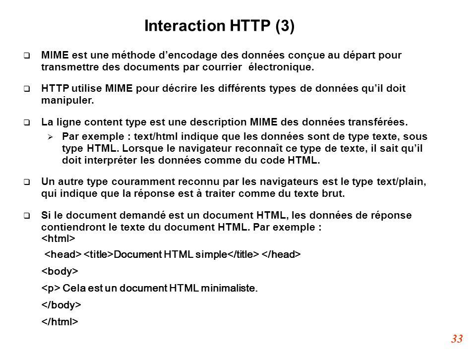 Interaction HTTP (3) MIME est une méthode d'encodage des données conçue au départ pour transmettre des documents par courrier électronique.