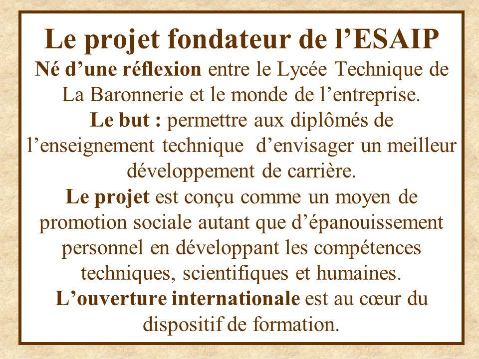 Le projet fondateur de l'ESAIP Né d'une réflexion entre le Lycée Technique de La Baronnerie et le monde de l'entreprise.