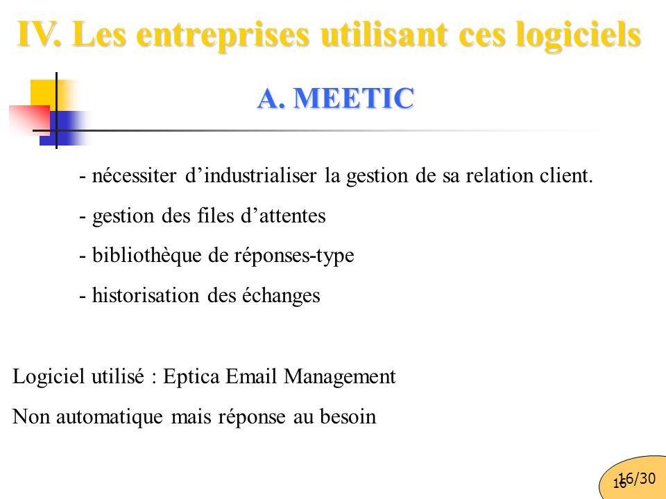IV. Les entreprises utilisant ces logiciels