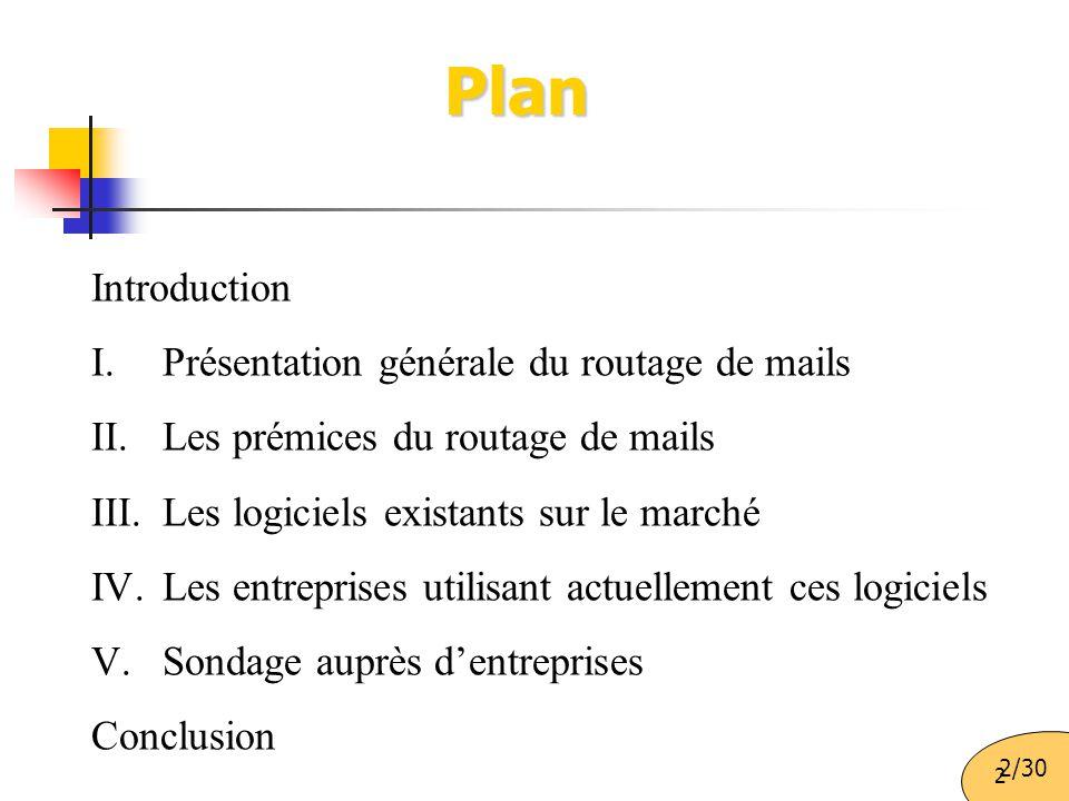 Plan Introduction Présentation générale du routage de mails