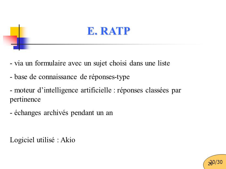 E. RATP - via un formulaire avec un sujet choisi dans une liste