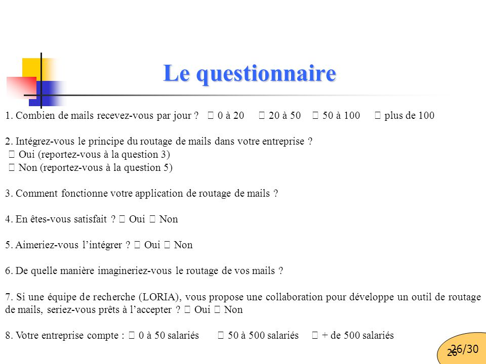 Le questionnaire 1. Combien de mails recevez-vous par jour  0 à 20  20 à 50  50 à 100  plus de 100.