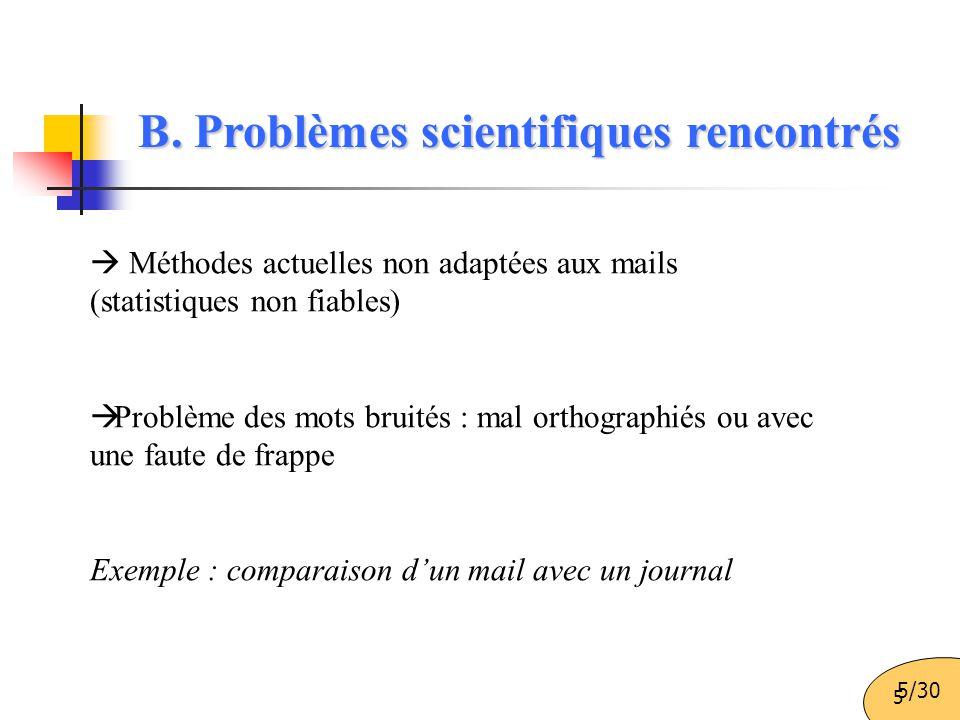 B. Problèmes scientifiques rencontrés