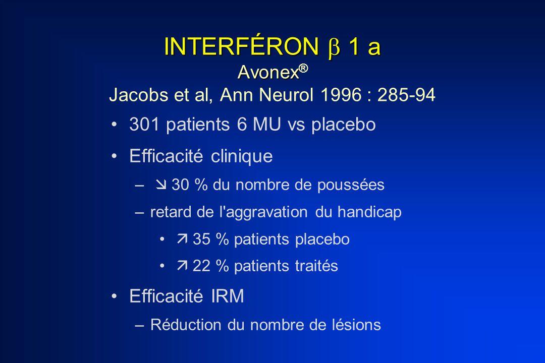 INTERFÉRON  1 a Avonex® Jacobs et al, Ann Neurol 1996 : 285-94