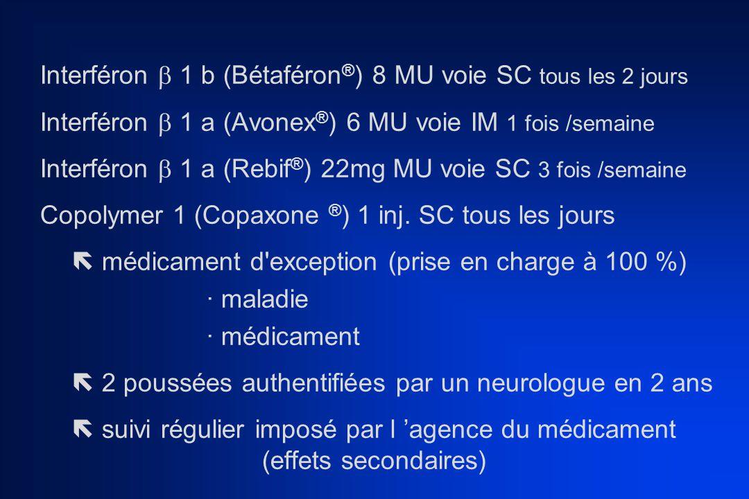 Interféron  1 b (Bétaféron®) 8 MU voie SC tous les 2 jours