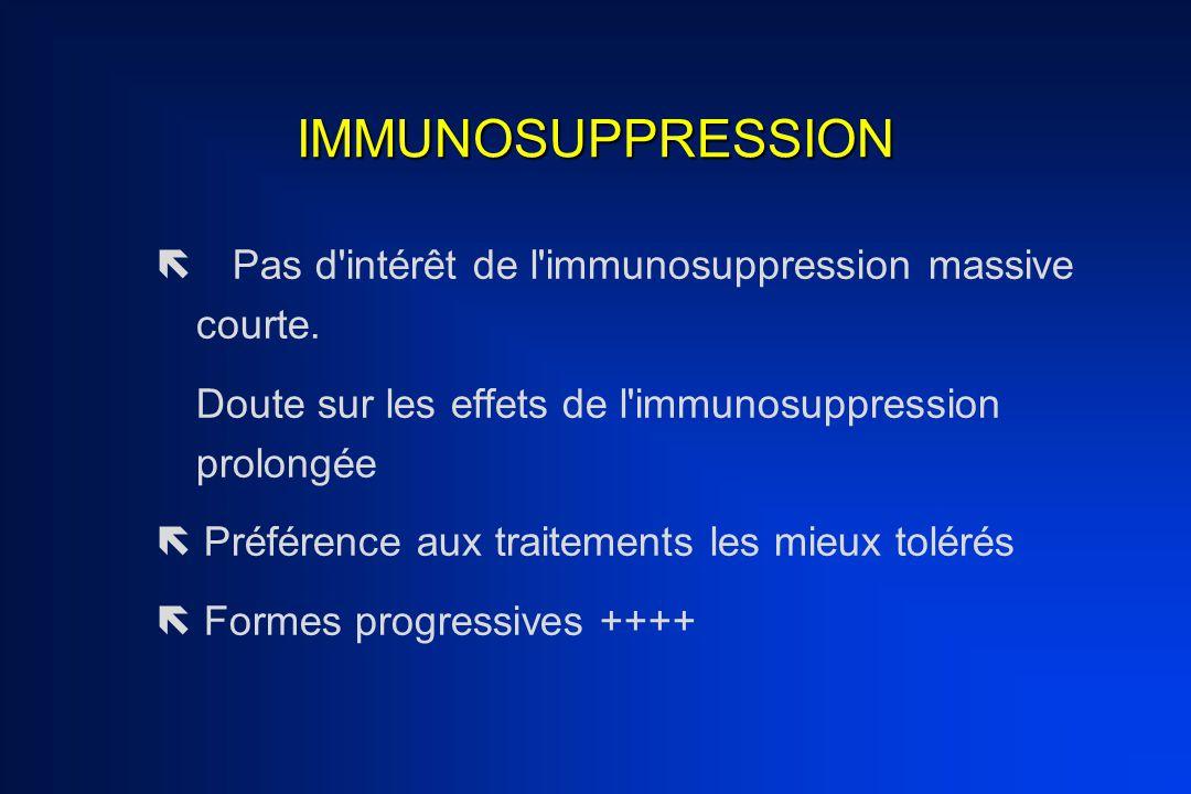 IMMUNOSUPPRESSION Pas d intérêt de l immunosuppression massive courte. Doute sur les effets de l immunosuppression prolongée.