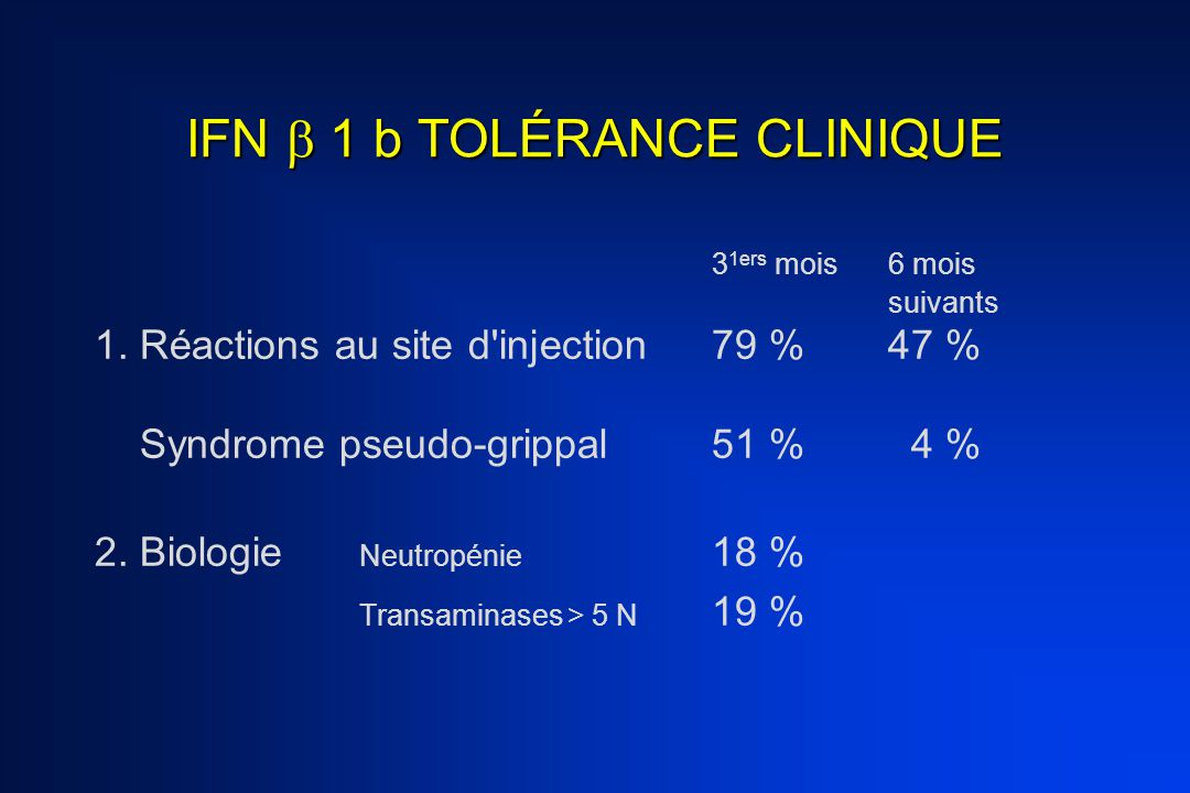 IFN  1 b TOLÉRANCE CLINIQUE