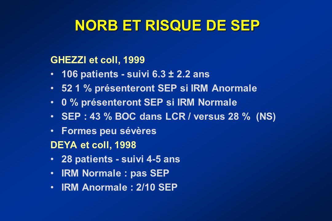 NORB ET RISQUE DE SEP GHEZZI et coll, 1999
