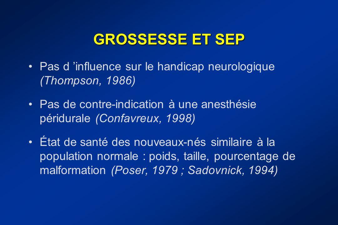 GROSSESSE ET SEP Pas d 'influence sur le handicap neurologique (Thompson, 1986)