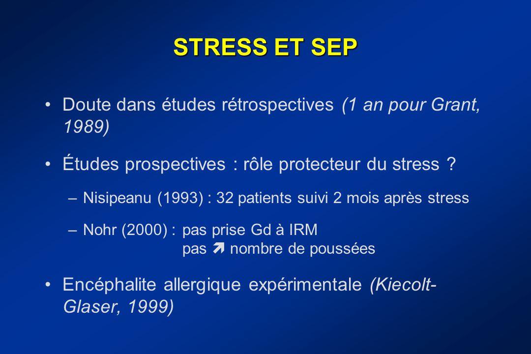 STRESS ET SEP Doute dans études rétrospectives (1 an pour Grant, 1989)