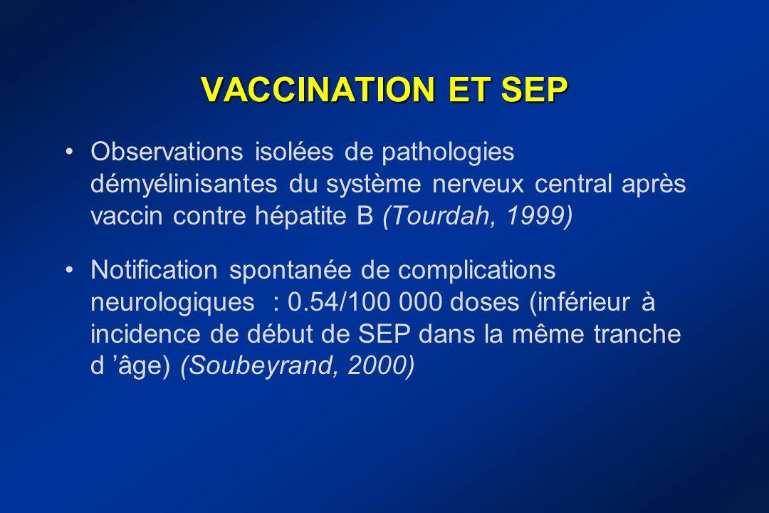 VACCINATION ET SEP Observations isolées de pathologies démyélinisantes du système nerveux central après vaccin contre hépatite B (Tourdah, 1999)