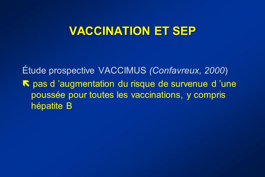 VACCINATION ET SEP Étude prospective VACCIMUS (Confavreux, 2000)