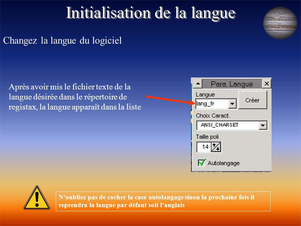 Initialisation de la langue