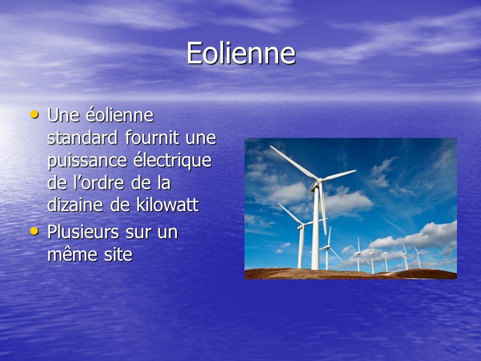 Eolienne Une éolienne standard fournit une puissance électrique de l'ordre de la dizaine de kilowatt.
