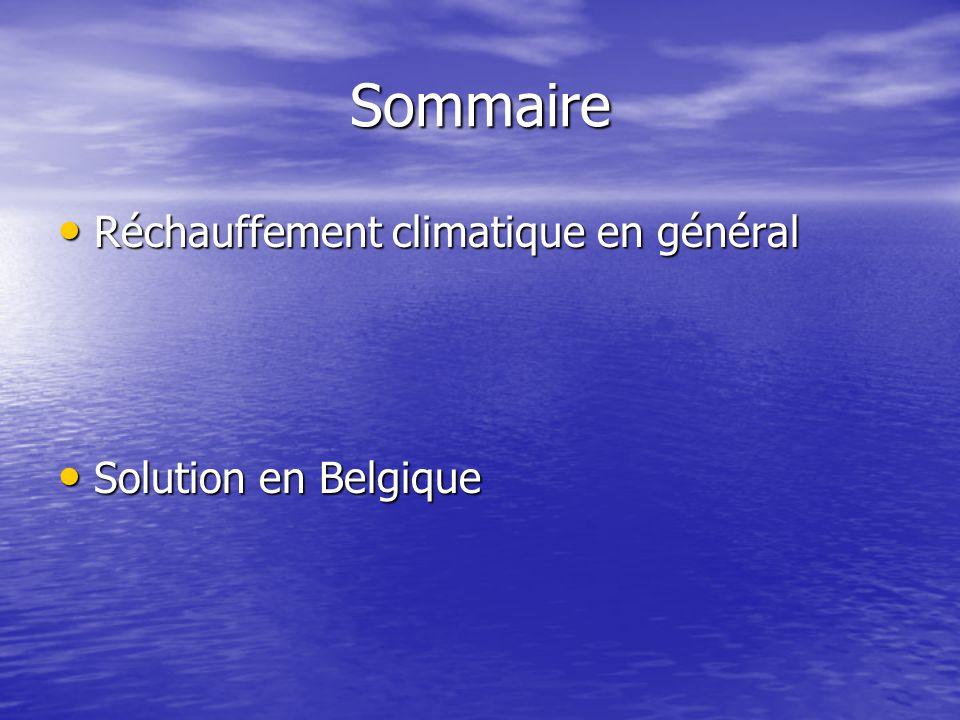 Sommaire Réchauffement climatique en général Solution en Belgique