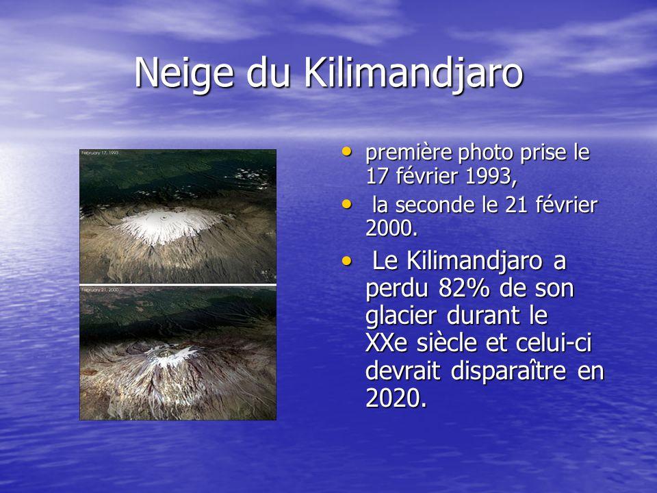 Neige du Kilimandjaro première photo prise le 17 février 1993,
