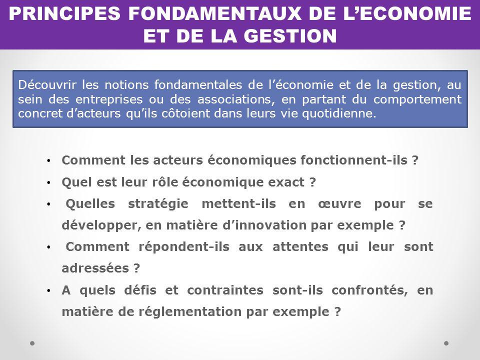 PRINCIPES FONDAMENTAUX DE L'ECONOMIE ET DE LA GESTION