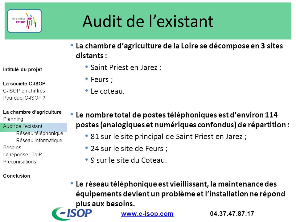 Audit de l'existant La chambre d'agriculture de la Loire se décompose en 3 sites distants : Saint Priest en Jarez ;