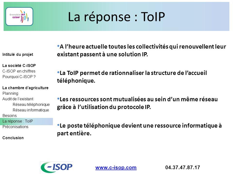 La réponse : ToIP A l'heure actuelle toutes les collectivités qui renouvellent leur existant passent à une solution IP.