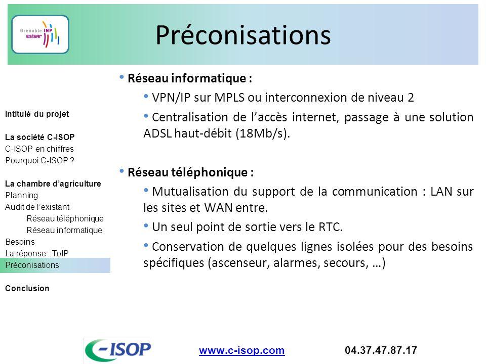 Préconisations Réseau informatique :