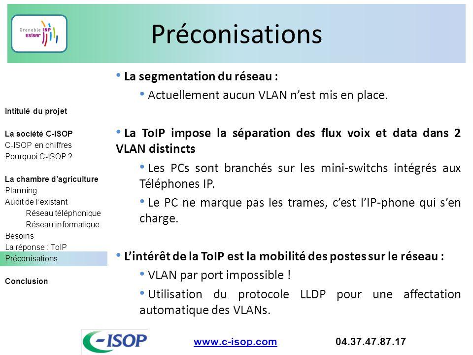 Préconisations La segmentation du réseau :