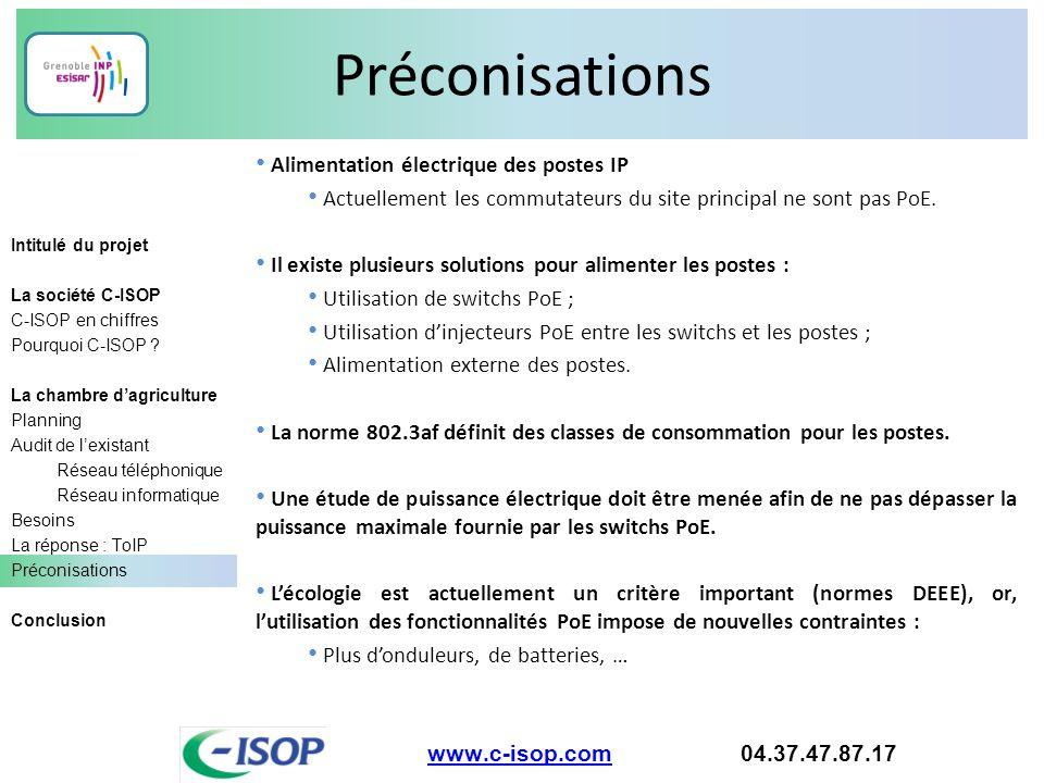 Préconisations Alimentation électrique des postes IP