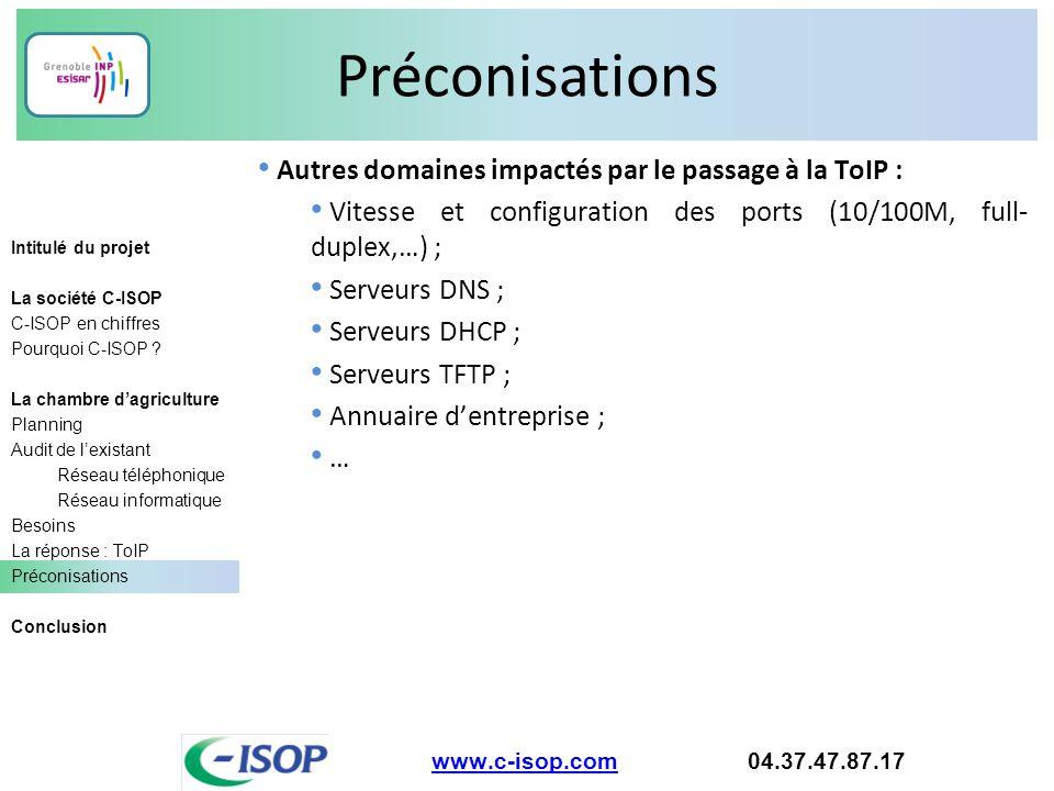 Préconisations Autres domaines impactés par le passage à la ToIP :