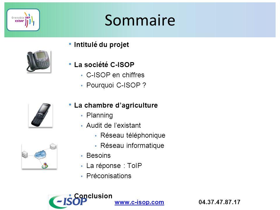 Sommaire Intitulé du projet La société C-ISOP C-ISOP en chiffres