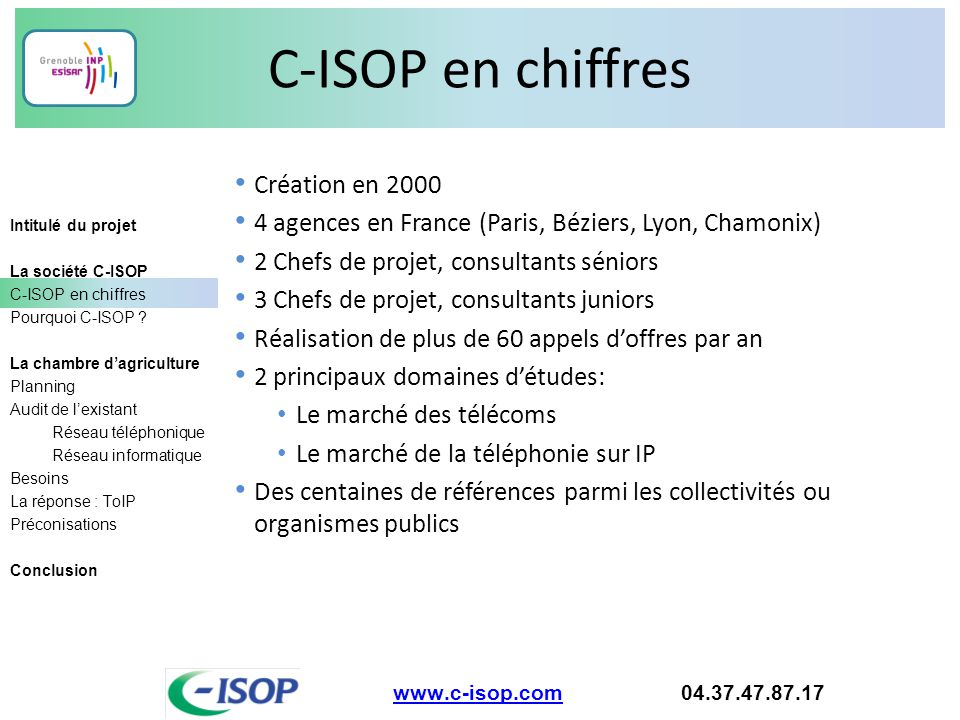 C-ISOP en chiffres Création en 2000