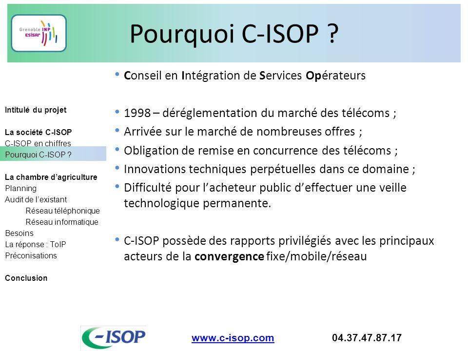 Pourquoi C-ISOP Conseil en Intégration de Services Opérateurs