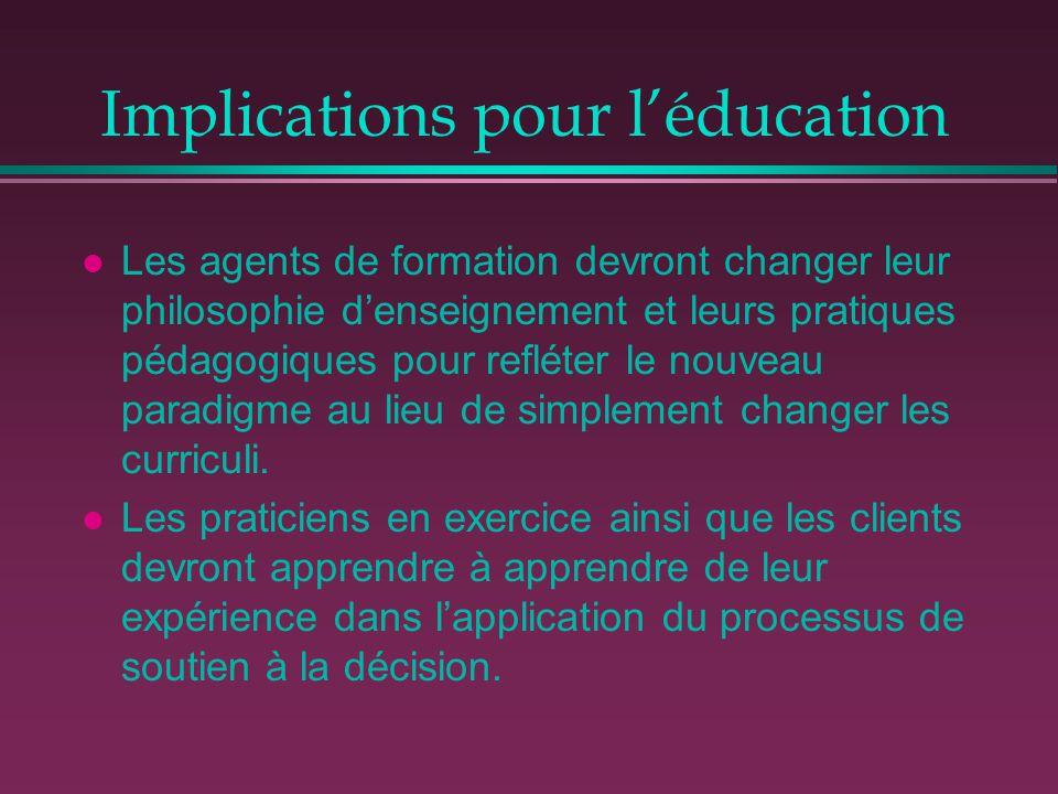 Implications pour l'éducation