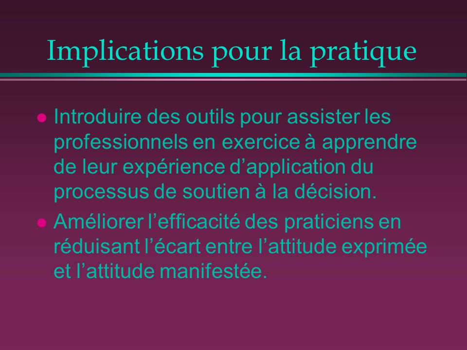 Implications pour la pratique