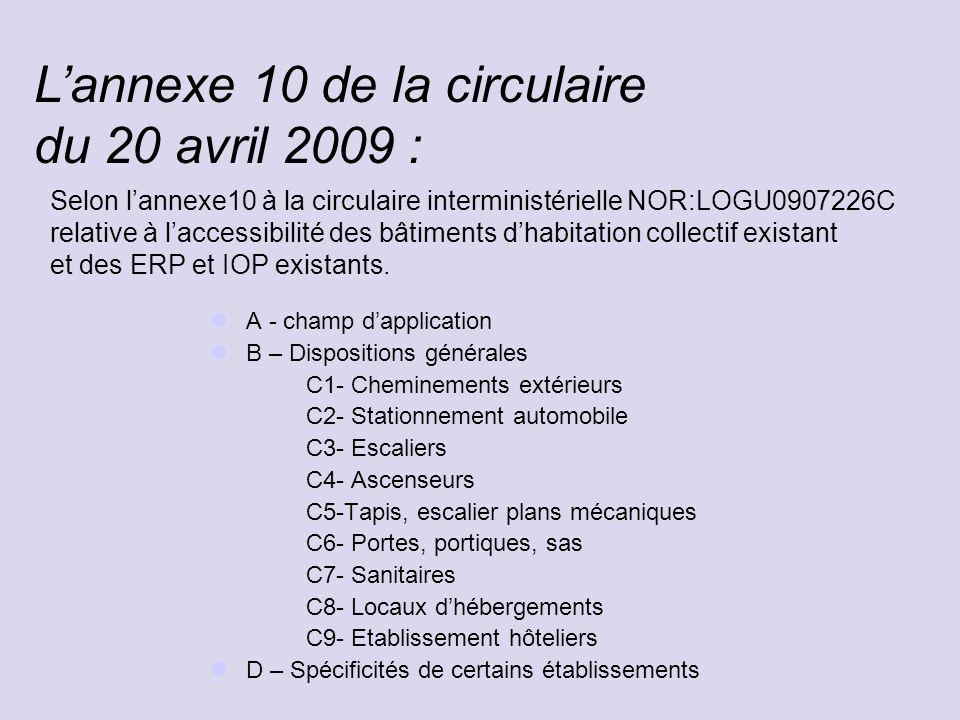 L'annexe 10 de la circulaire du 20 avril 2009 :