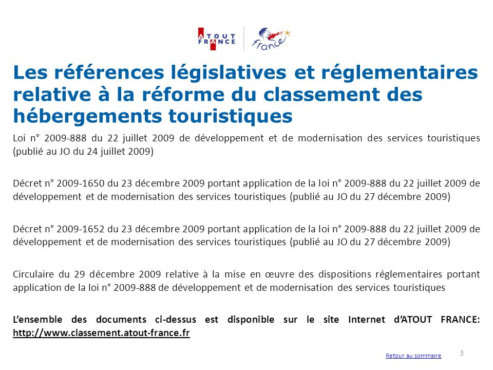 Les références législatives et réglementaires relative à la réforme du classement des hébergements touristiques