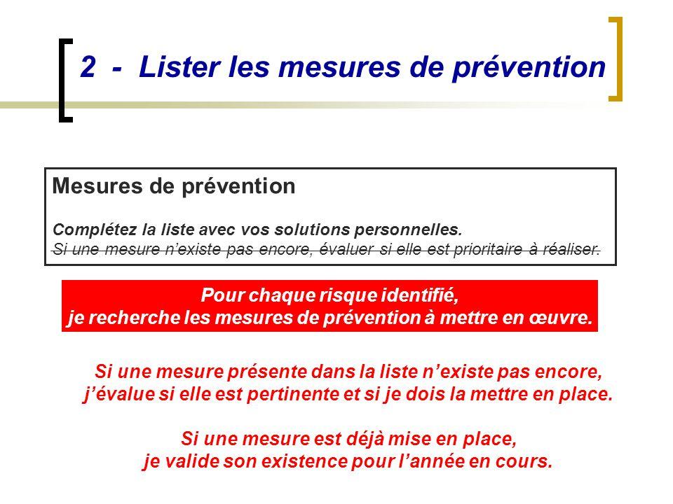 2 - Lister les mesures de prévention