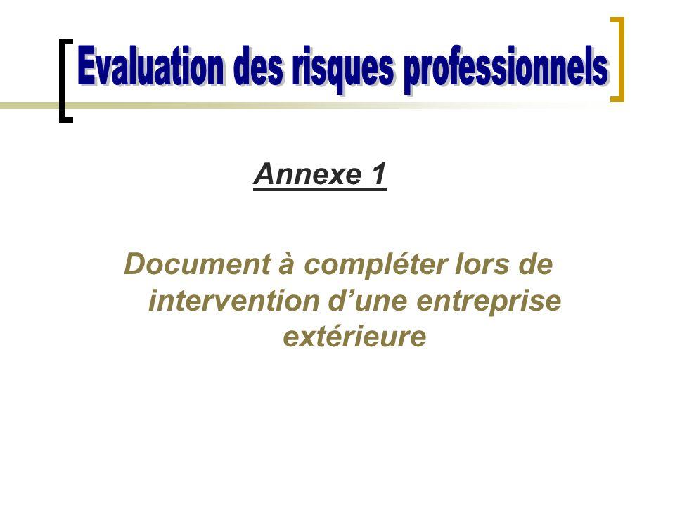 Document à compléter lors de intervention d'une entreprise extérieure