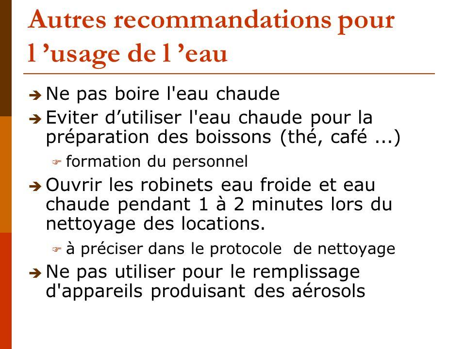 Autres recommandations pour l 'usage de l 'eau