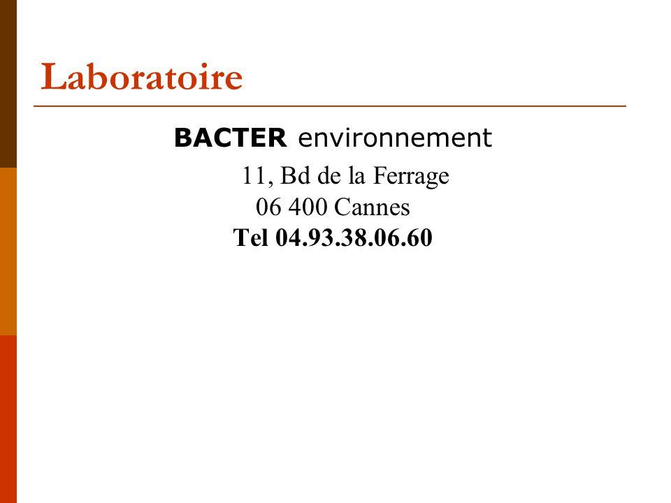 Laboratoire BACTER environnement 11, Bd de la Ferrage 06 400 Cannes