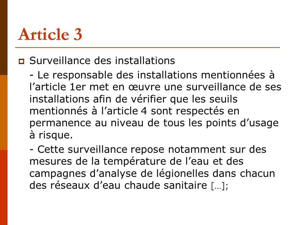 Article 3 Surveillance des installations