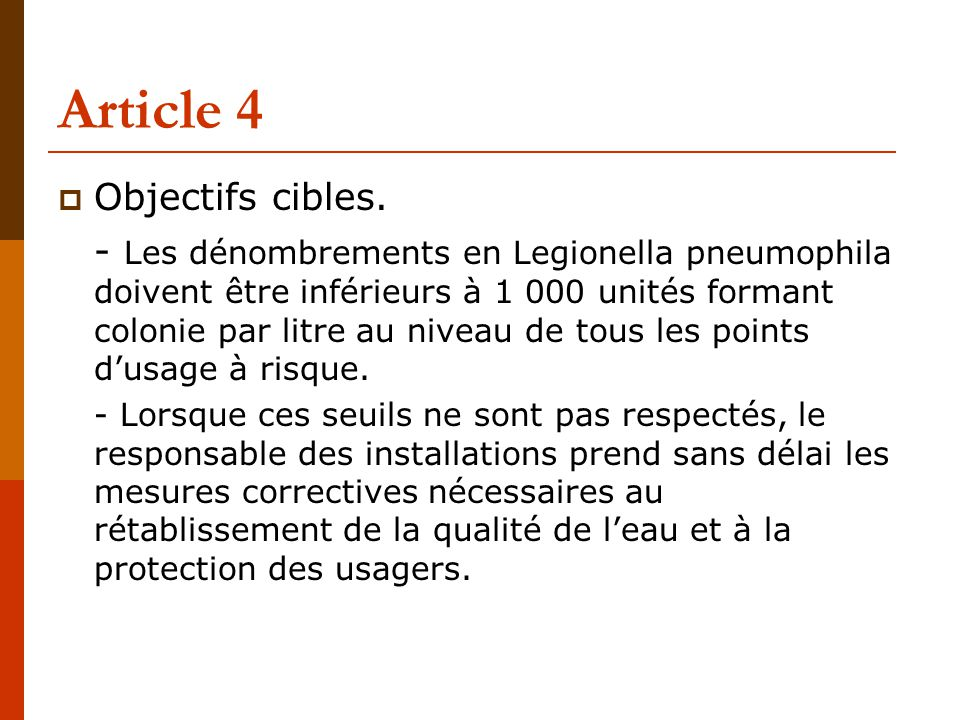 Article 4 Objectifs cibles.