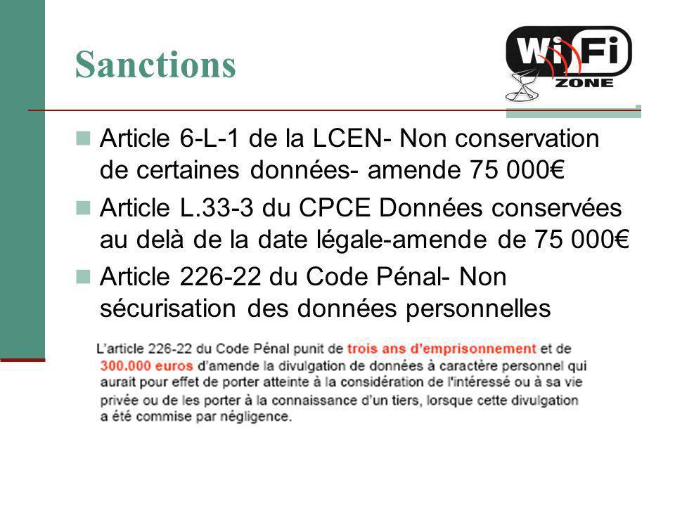 Sanctions Article 6-L-1 de la LCEN- Non conservation de certaines données- amende 75 000€