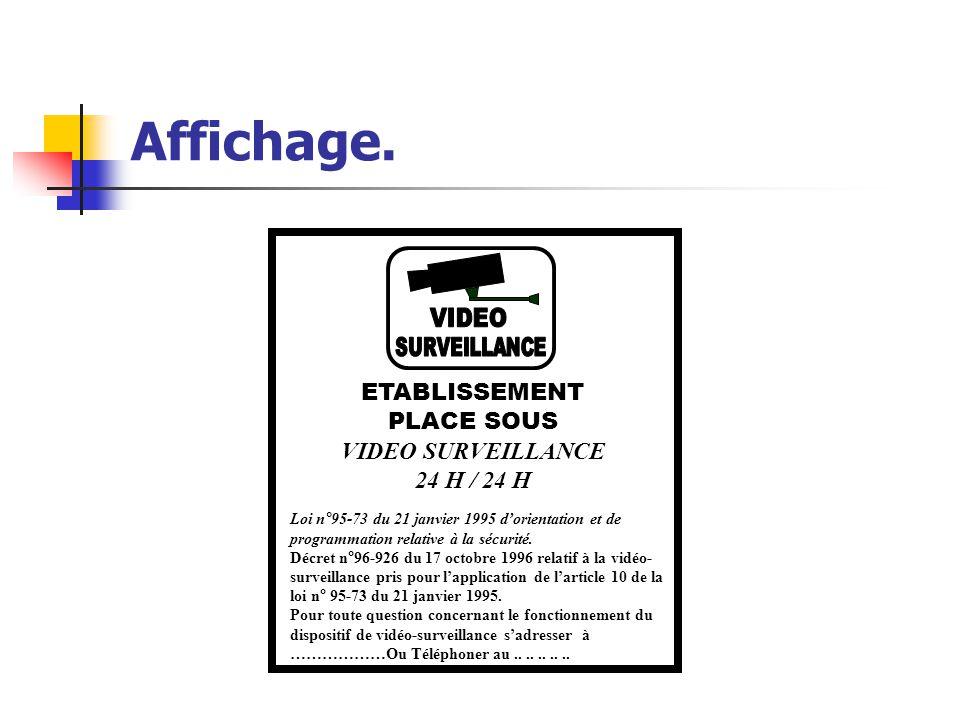 Affichage. VIDEO SURVEILLANCE ETABLISSEMENT PLACE SOUS