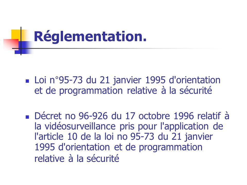 Réglementation. Loi n°95-73 du 21 janvier 1995 d orientation et de programmation relative à la sécurité.