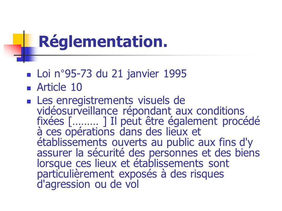 Réglementation. Loi n°95-73 du 21 janvier 1995 Article 10