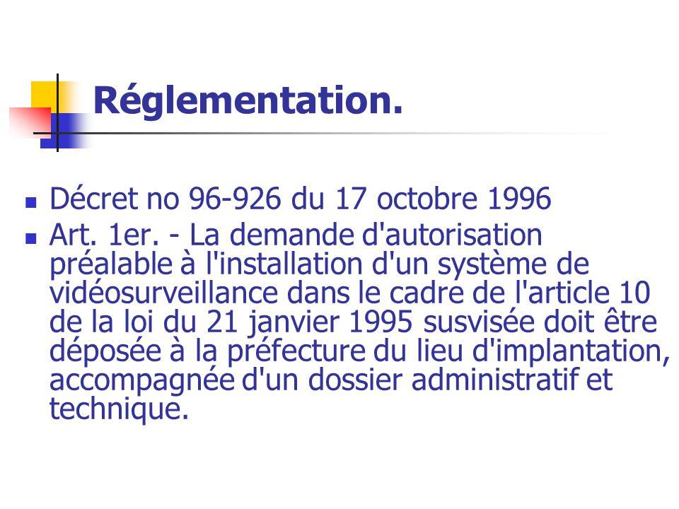 Réglementation. Décret no 96-926 du 17 octobre 1996