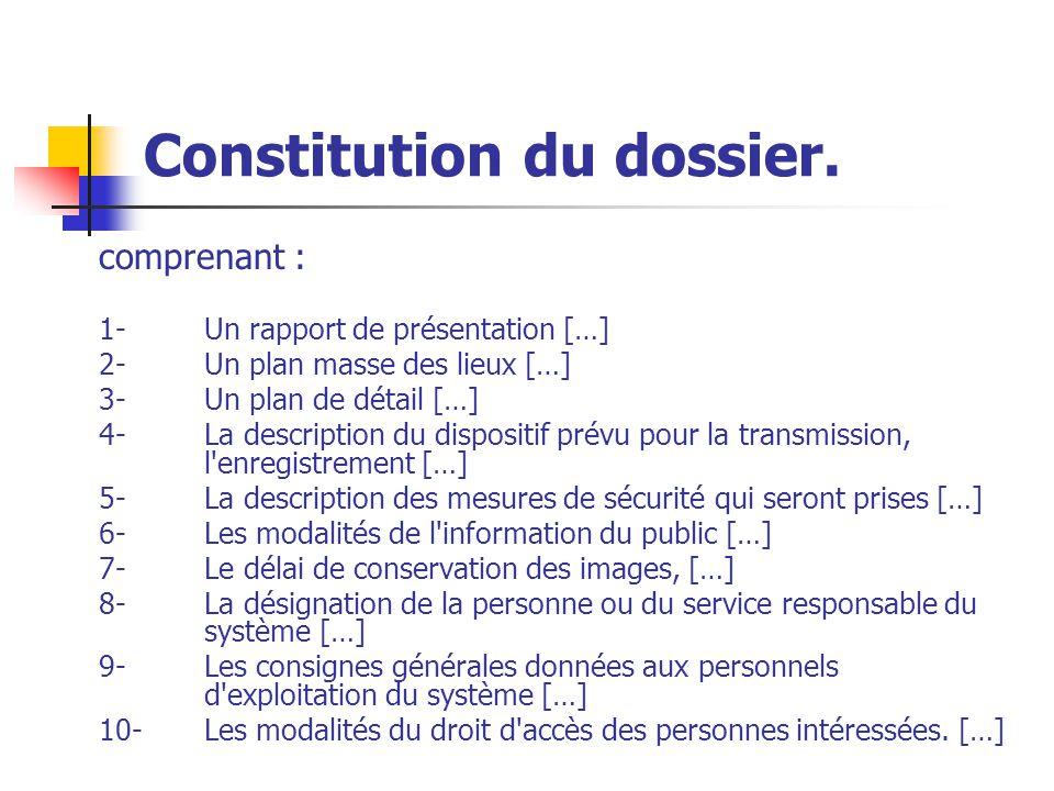 Constitution du dossier.