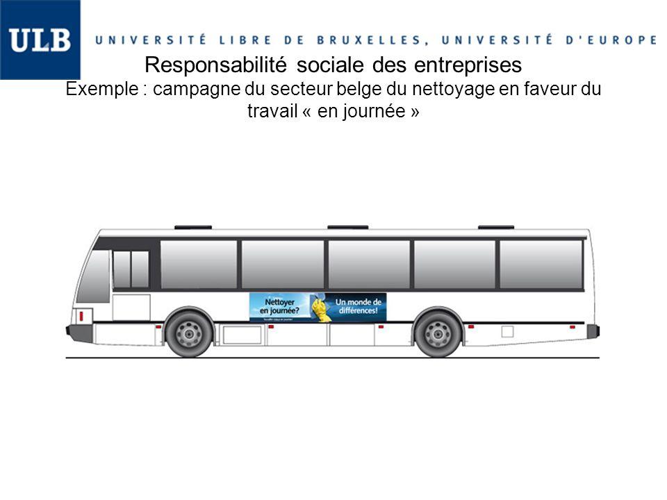 Responsabilité sociale des entreprises Exemple : campagne du secteur belge du nettoyage en faveur du travail « en journée »